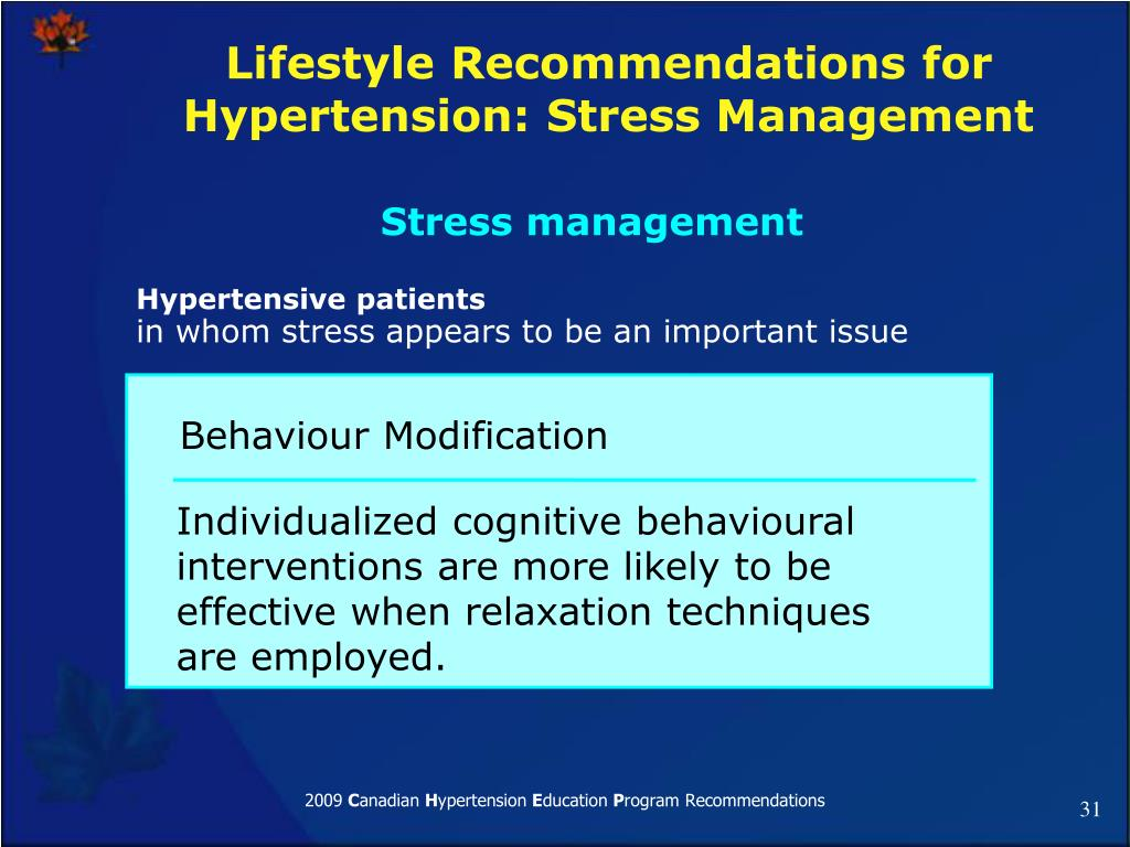 Lifestyle Recommendations for Hypertension: Stress Management