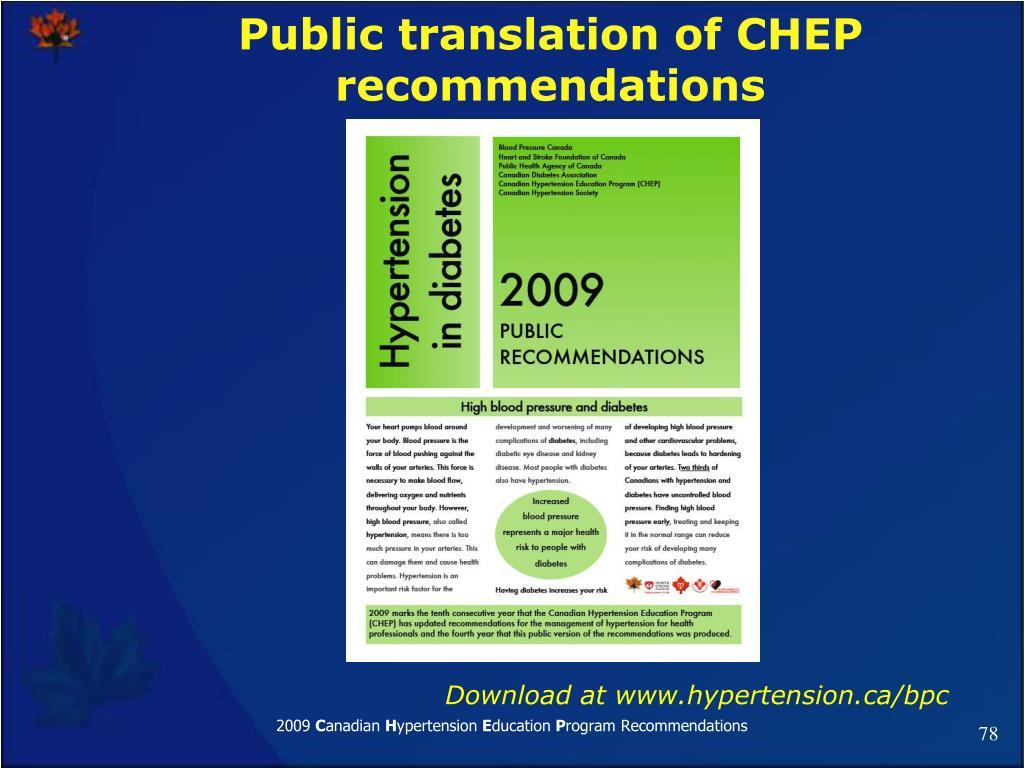Public translation of CHEP recommendations