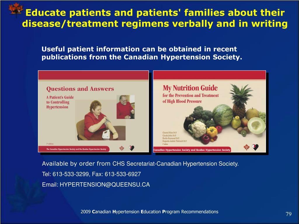 Educate patients and patients' families about their disease/treatment regimens verbally and in writing