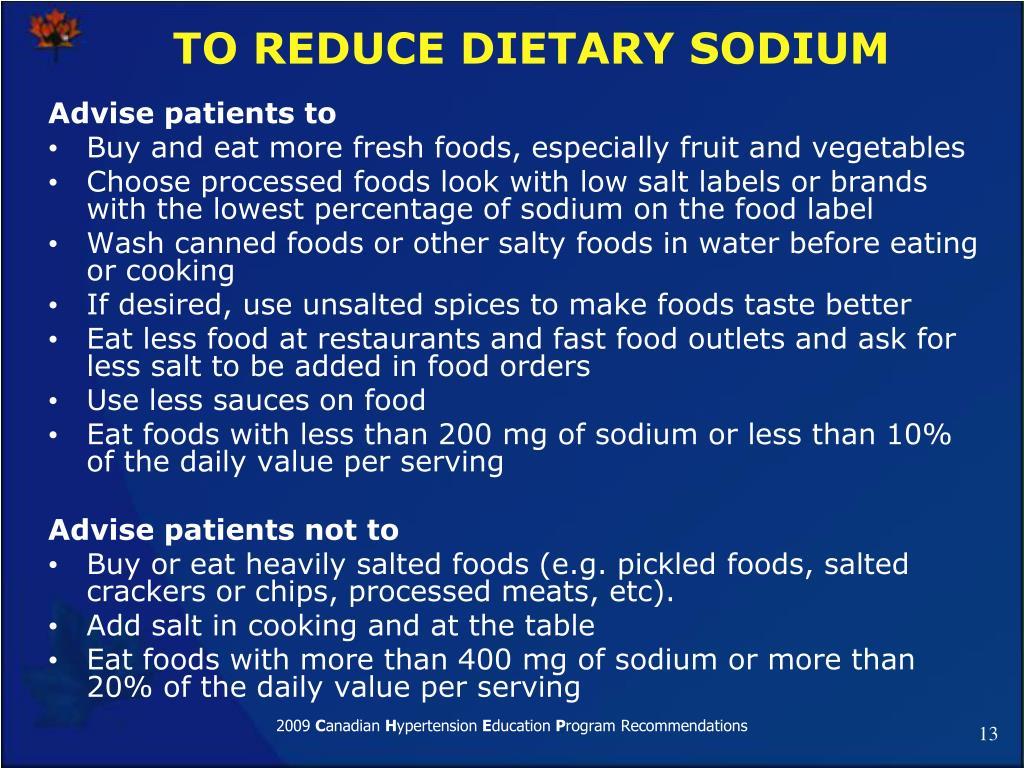 TO REDUCE DIETARY SODIUM