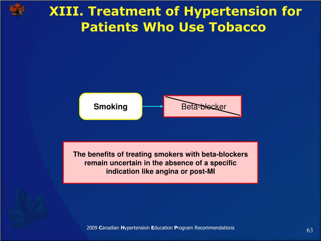 XIII. Treatment of Hypertension for Patients Who Use Tobacco