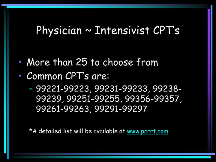 Physician intensivist cpt s