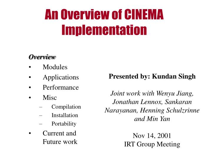 An overview of cinema implementation l.jpg