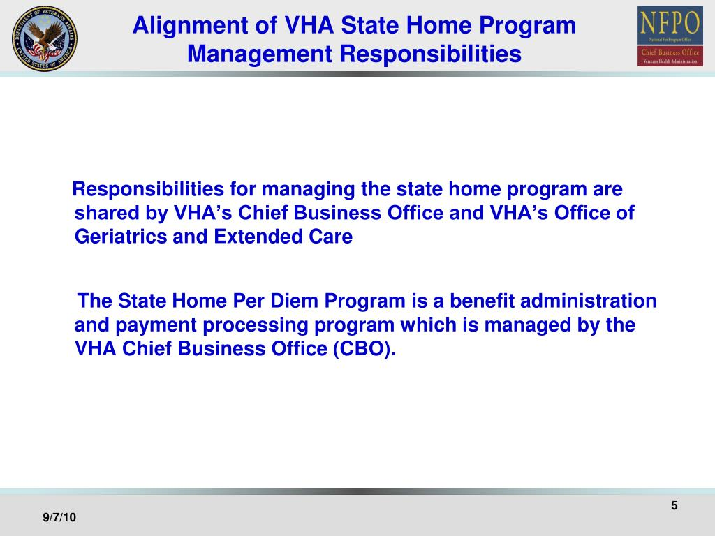 Alignment of VHA State Home Program Management Responsibilities