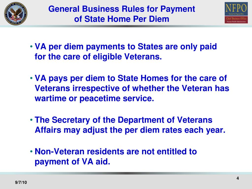 General Business Rules for Payment