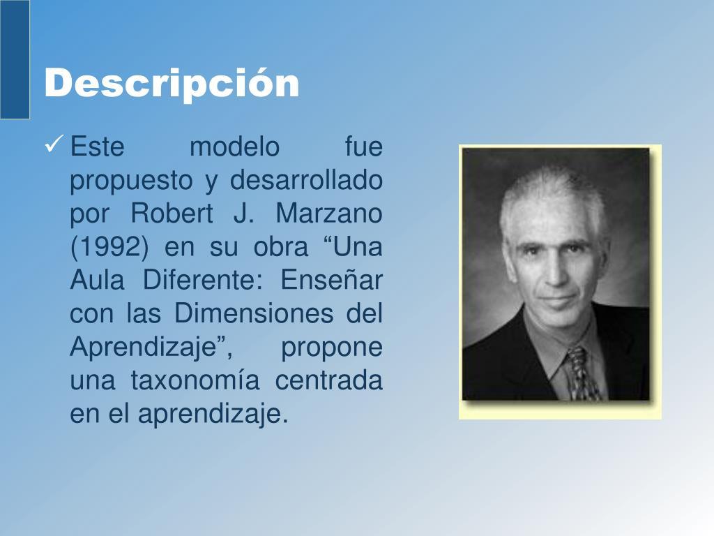 """Este modelo fue propuesto y desarrollado por Robert J. Marzano (1992) en su obra """"Una Aula Diferente: Enseñar con las Dimensiones del Aprendizaje"""", propone una taxonomía centrada en el aprendizaje."""