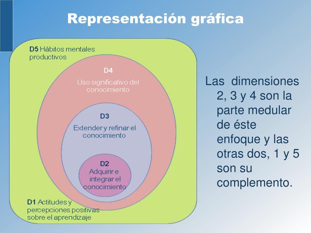 Las  dimensiones 2, 3 y 4 son la parte medular de éste enfoque y las otras dos, 1 y 5 son su complemento.