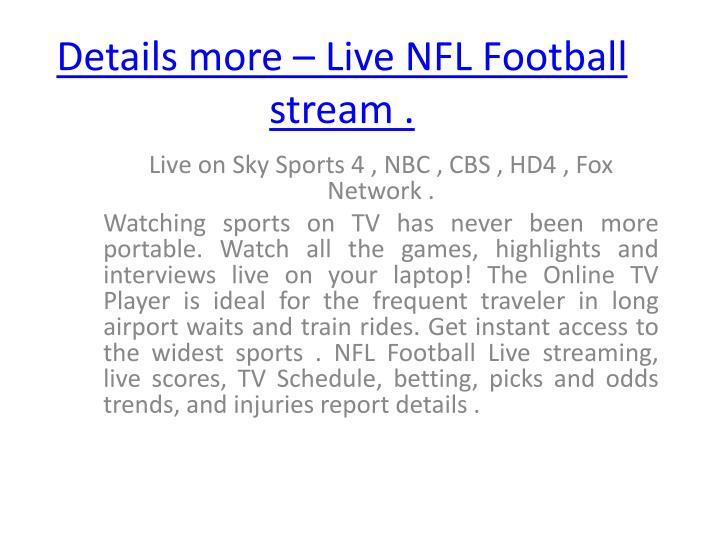 Details more live nfl football stream