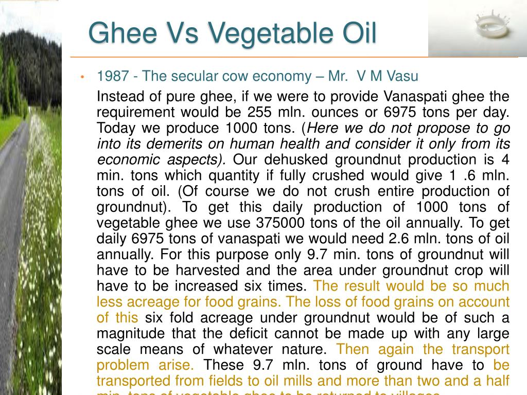 Ghee Vs Vegetable Oil