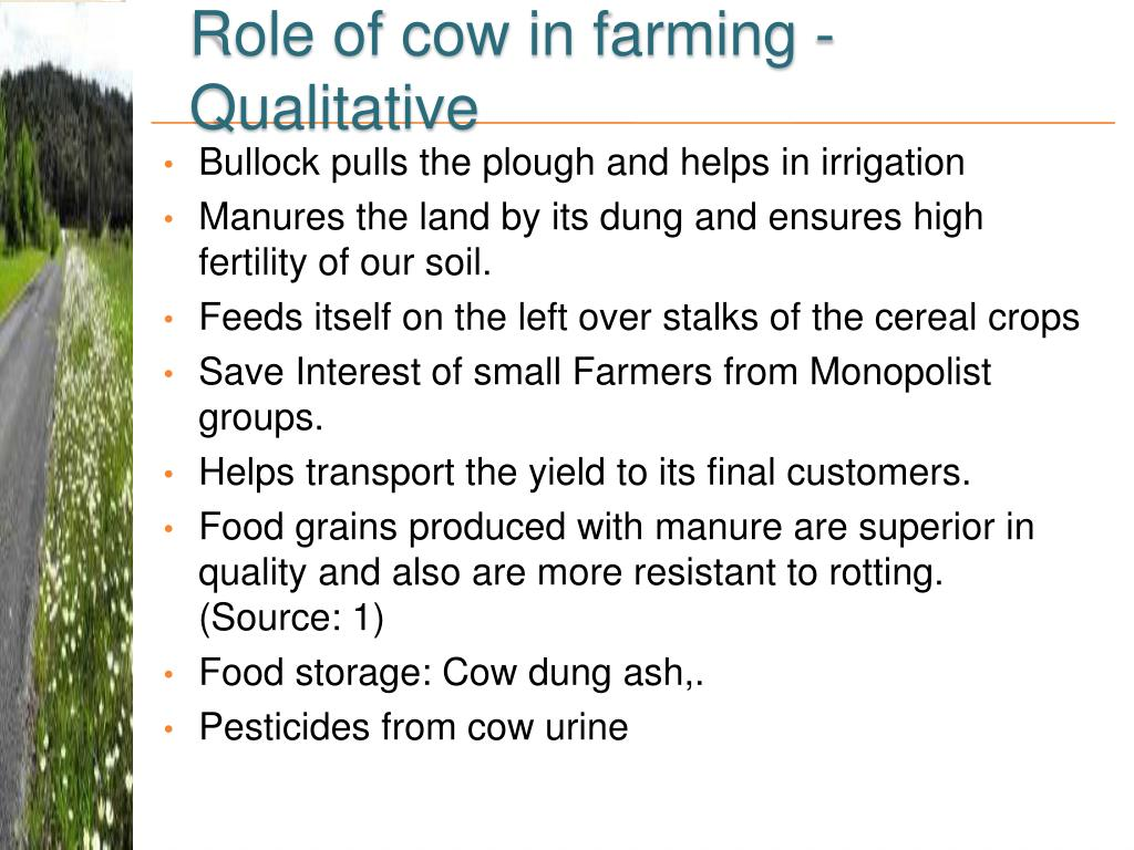 Role of cow in farming - Qualitative