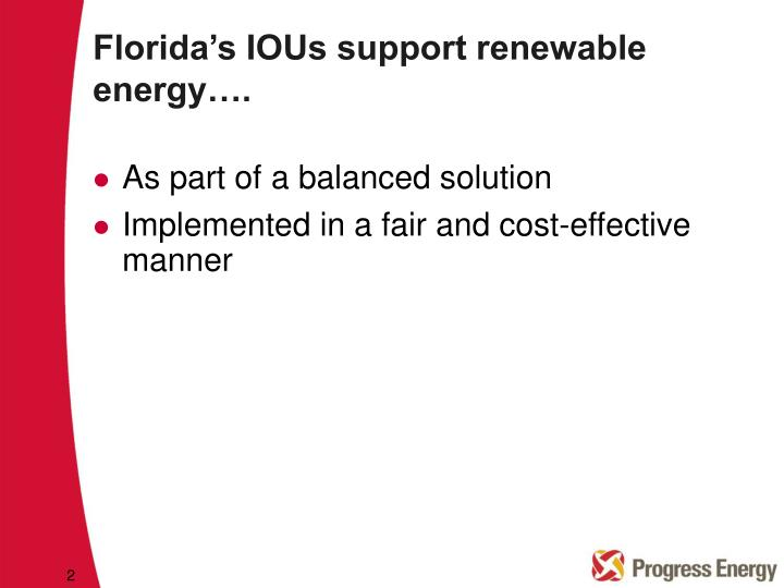 Florida s ious support renewable energy