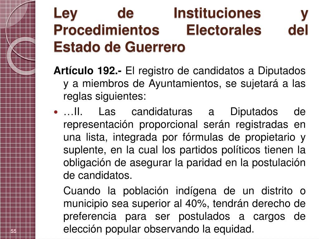 Ley de Instituciones y Procedimientos Electorales del Estado de Guerrero