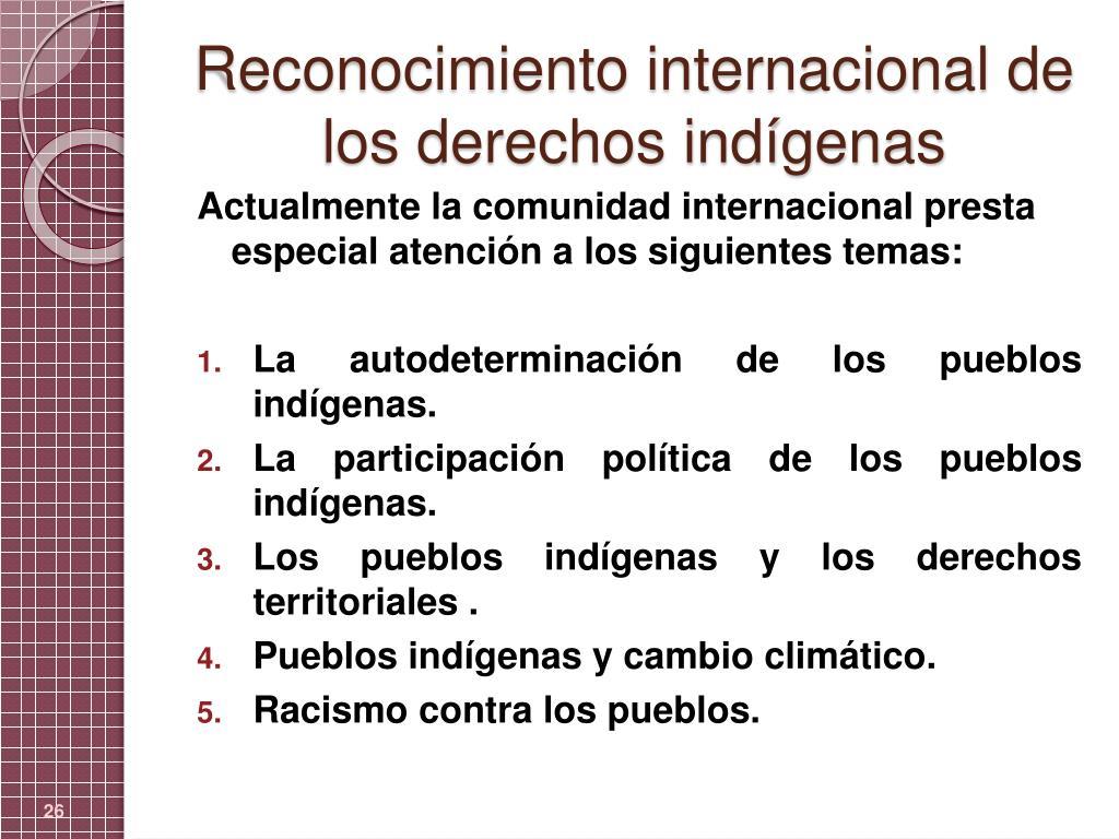 Reconocimiento internacional de los derechos indígenas