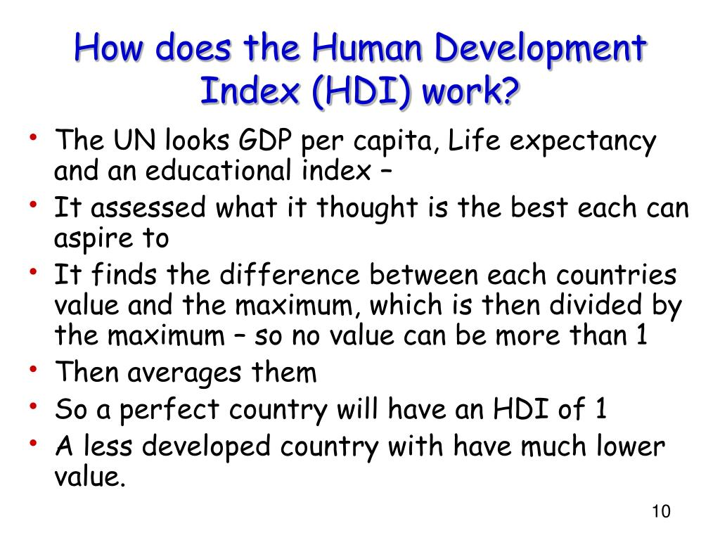 How does the Human Development Index (HDI) work?