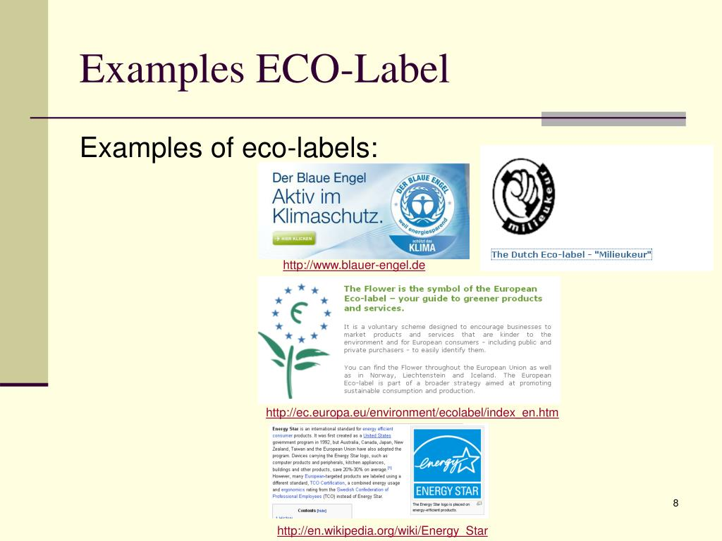Examples ECO-Label