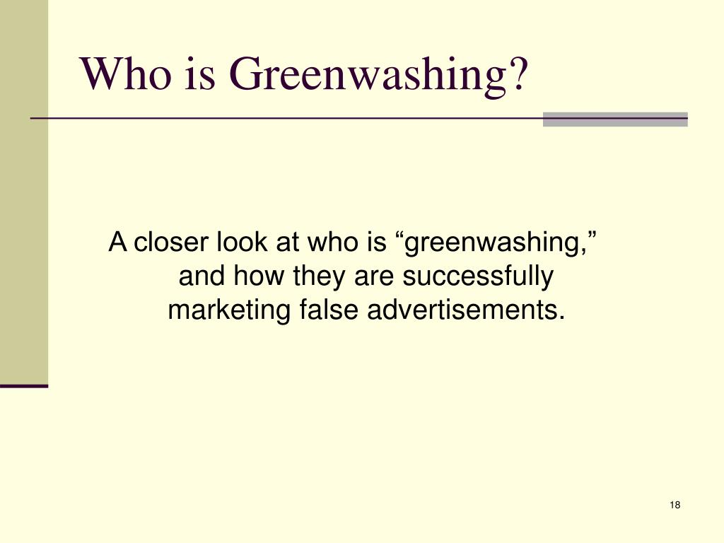 Who is Greenwashing?