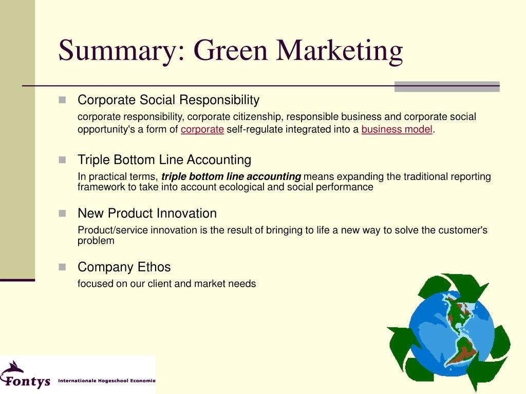 Summary: Green Marketing