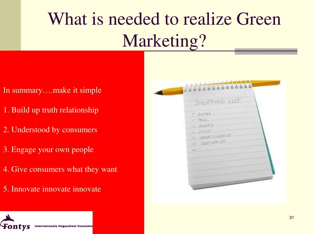 What is needed to realize Green Marketing?