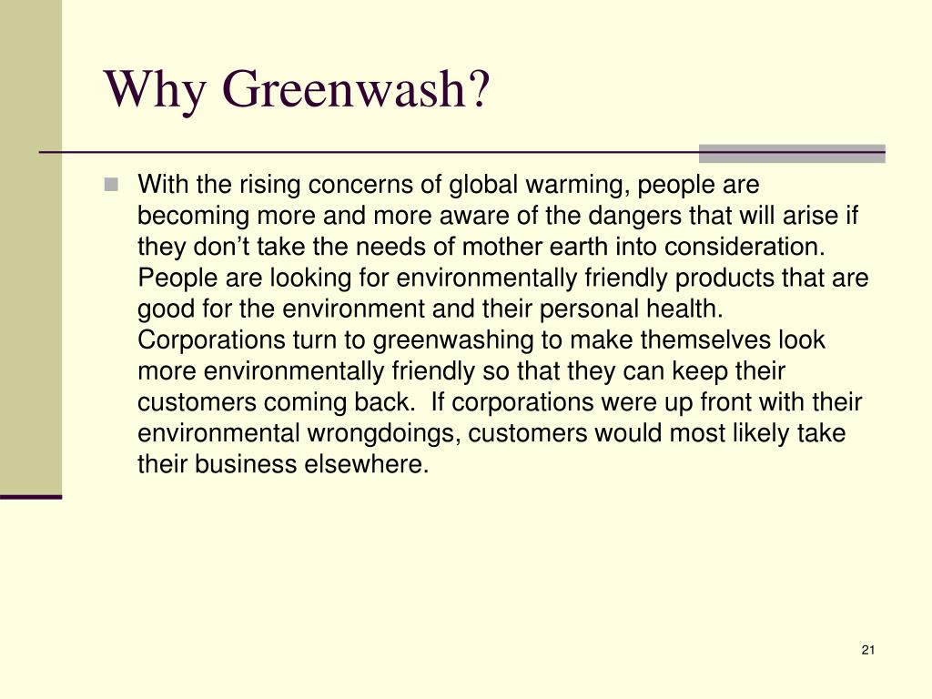Why Greenwash?