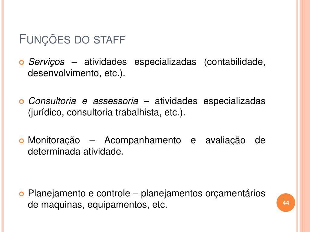 Funções do staff