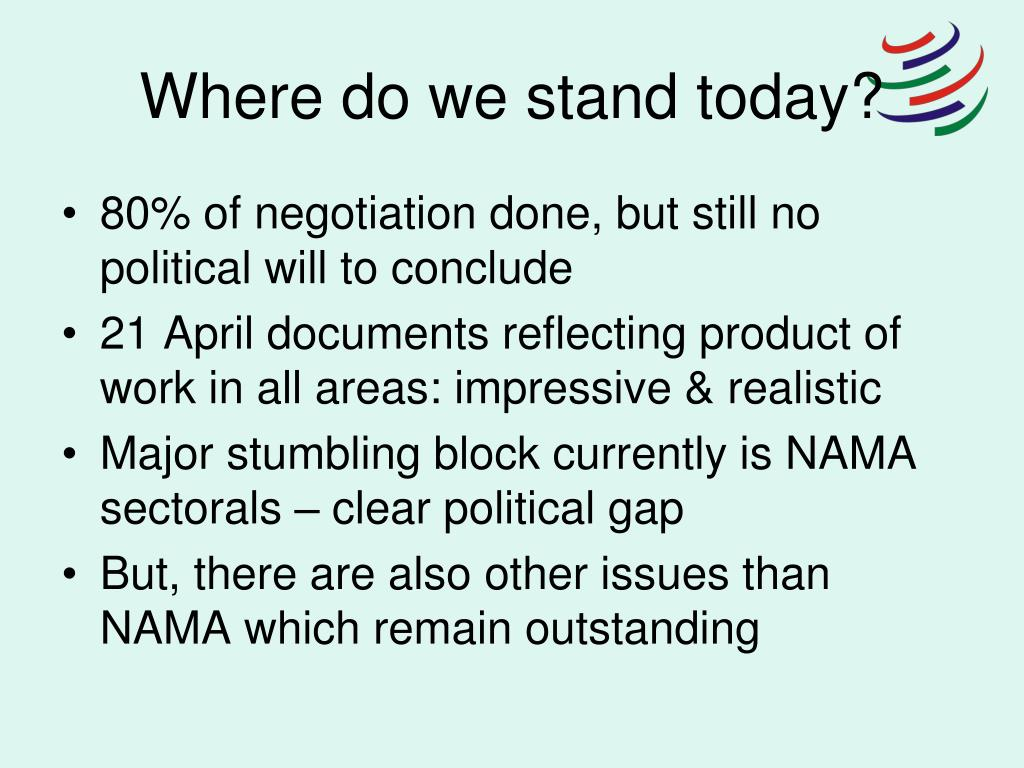 Where do we stand today?