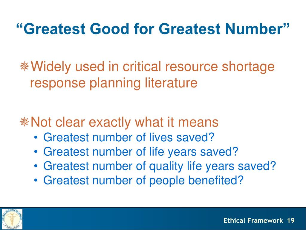 greatest good for the greatest number