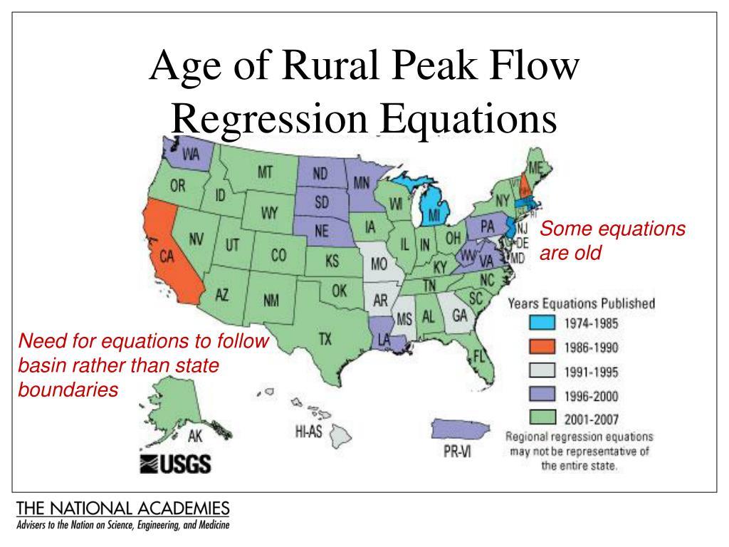 Age of Rural Peak Flow Regression Equations