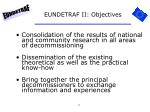 eundetraf ii objectives