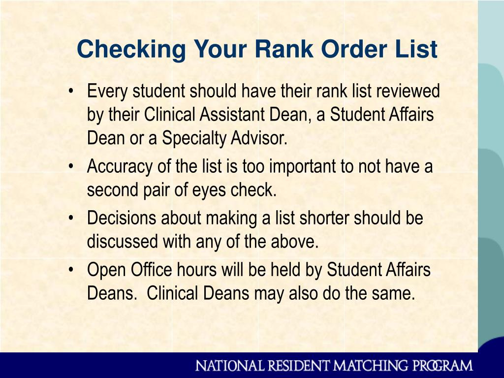 Checking Your Rank Order List