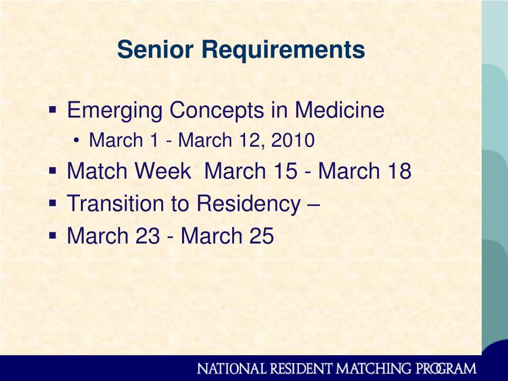 Senior Requirements