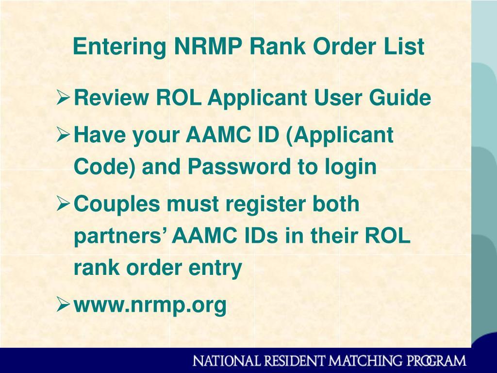 Entering NRMP Rank Order List