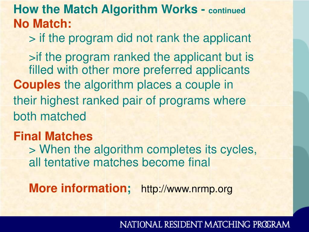 How the Match Algorithm Works -