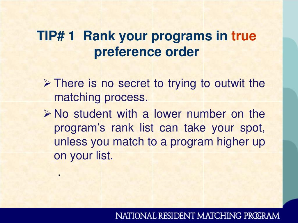 TIP# 1  Rank your programs in