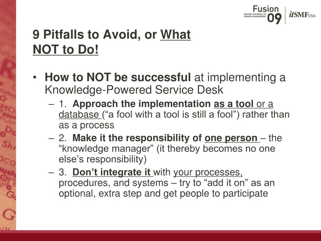 9 Pitfalls to Avoid, or