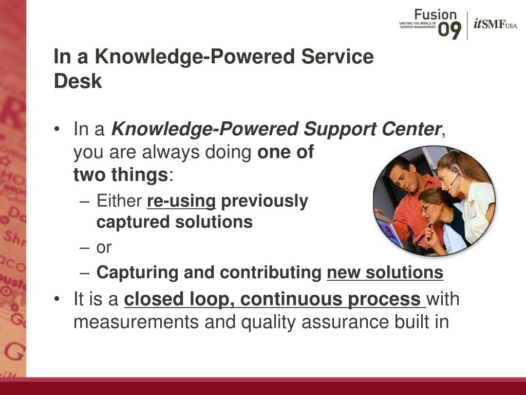 In a Knowledge-Powered Service Desk