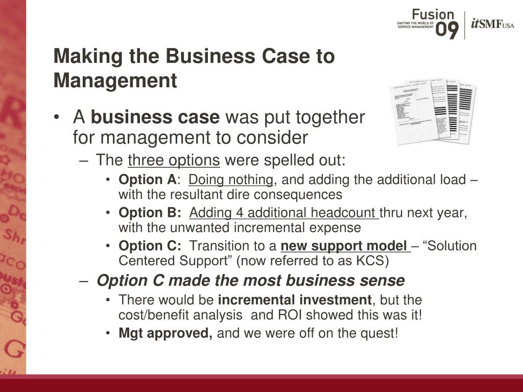 Making the Business Case to Management
