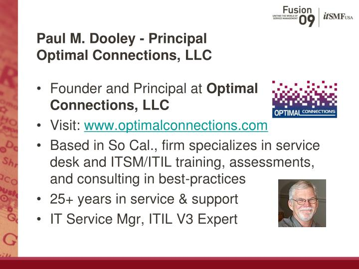 Paul m dooley principal optimal connections llc