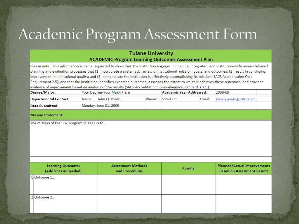 Academic Program Assessment Form