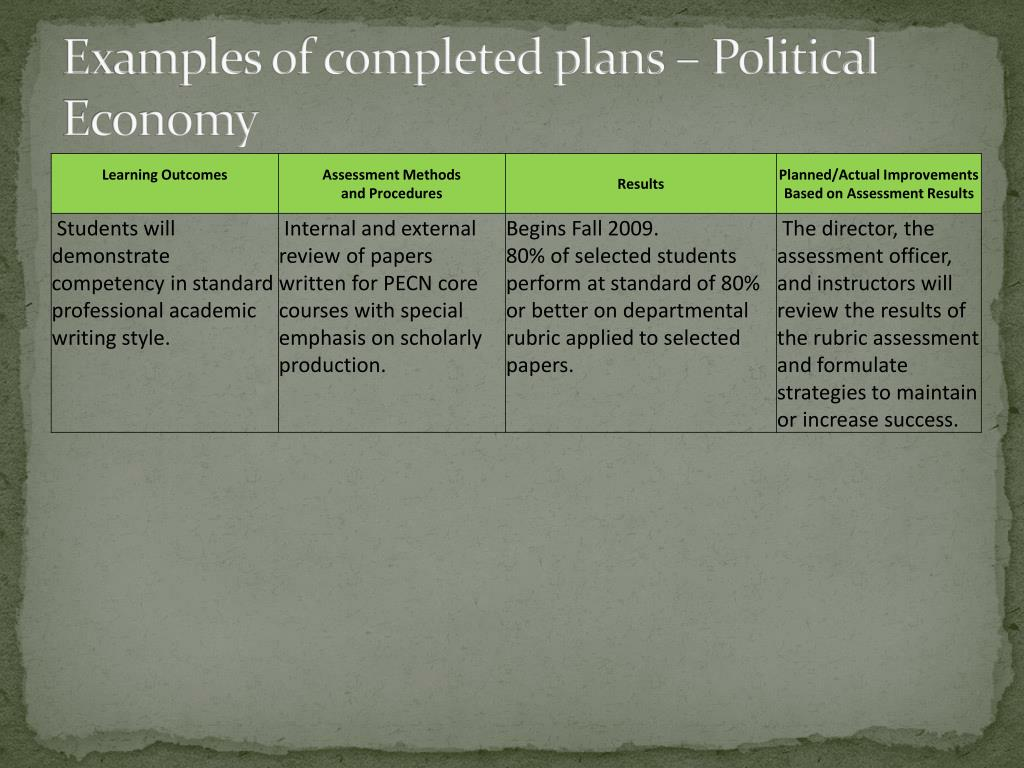 Examples of completed plans – Political Economy