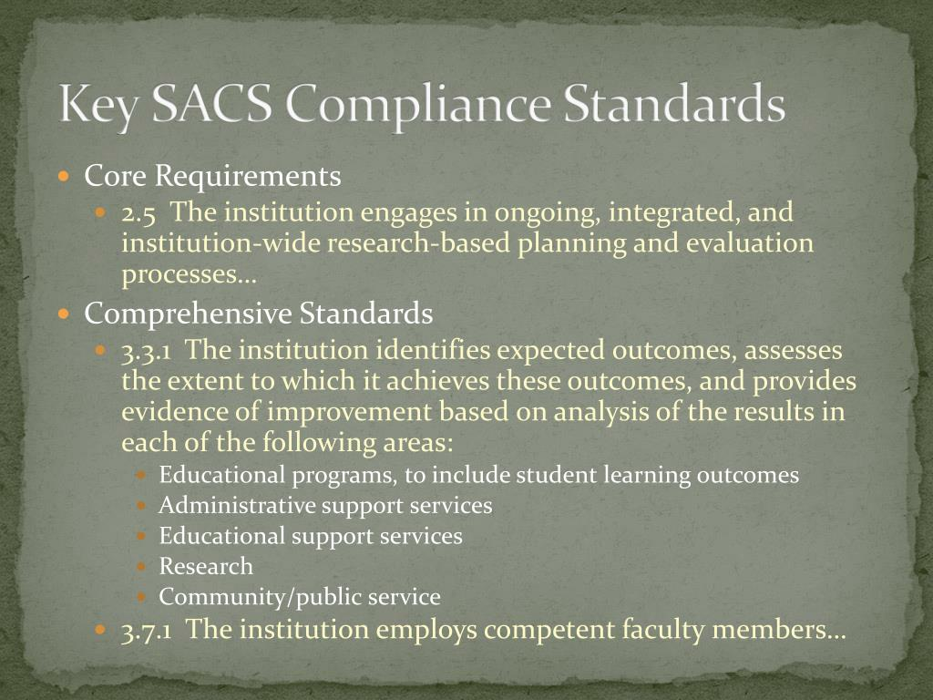 Key SACS Compliance Standards