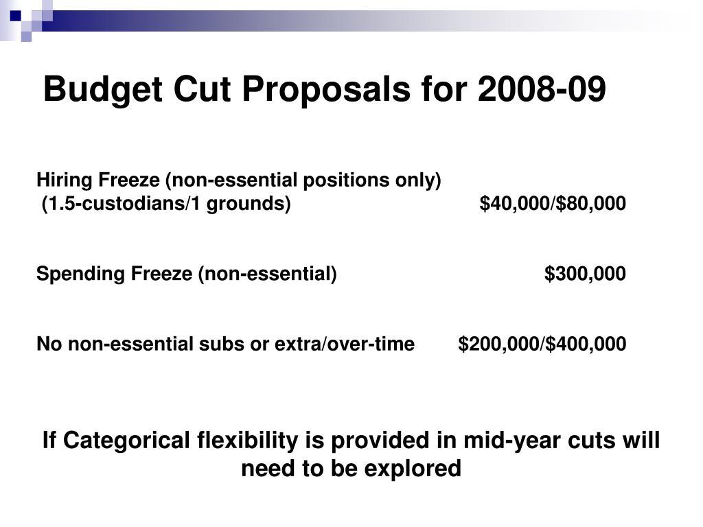 Budget Cut Proposals for 2008-09