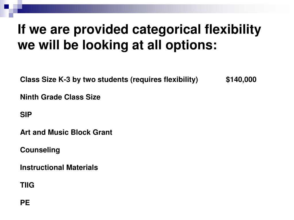 If we are provided categorical flexibility we will be looking at all options: