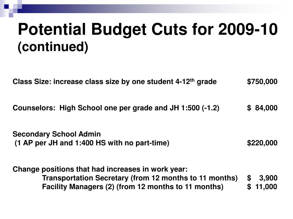 Potential Budget Cuts for 2009-10