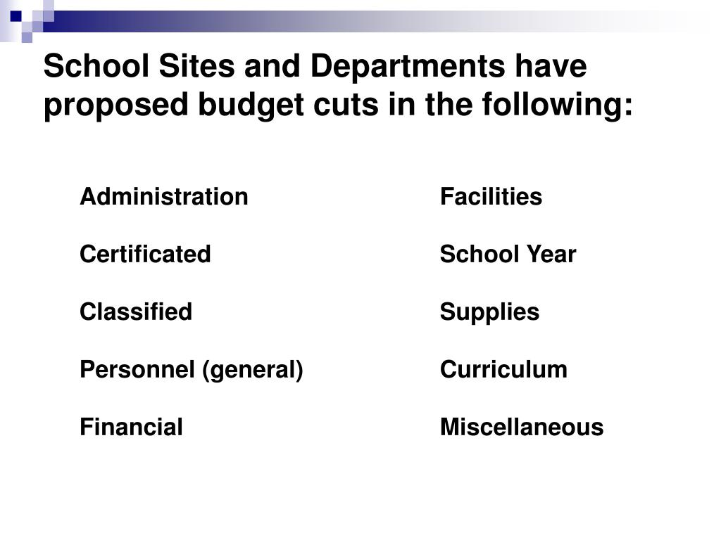School Sites and Departments have proposed budget cuts in the following:
