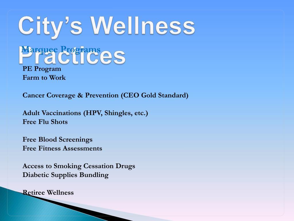 City's Wellness Practices