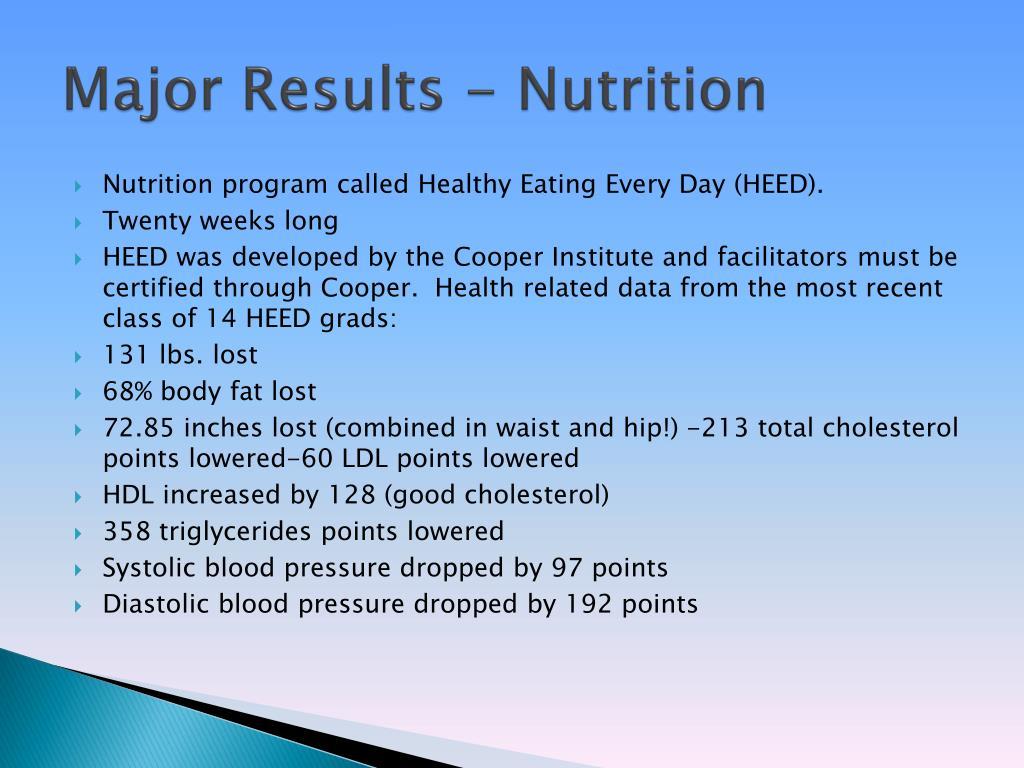 Major Results - Nutrition