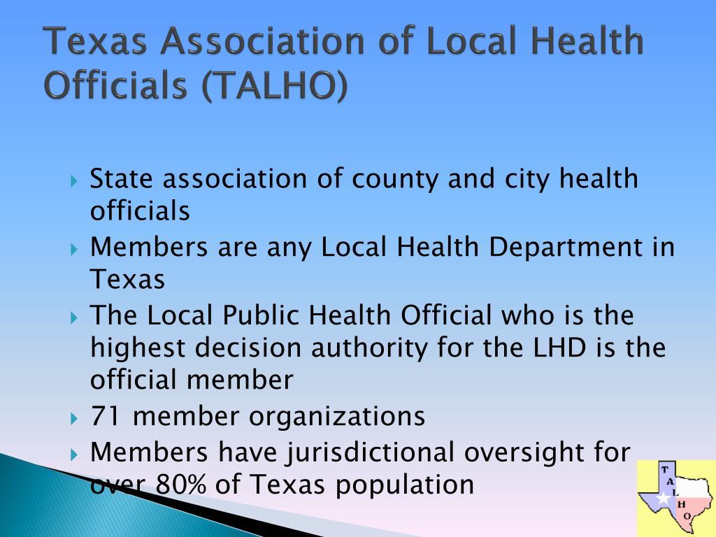 Texas Association of Local Health Officials (TALHO)