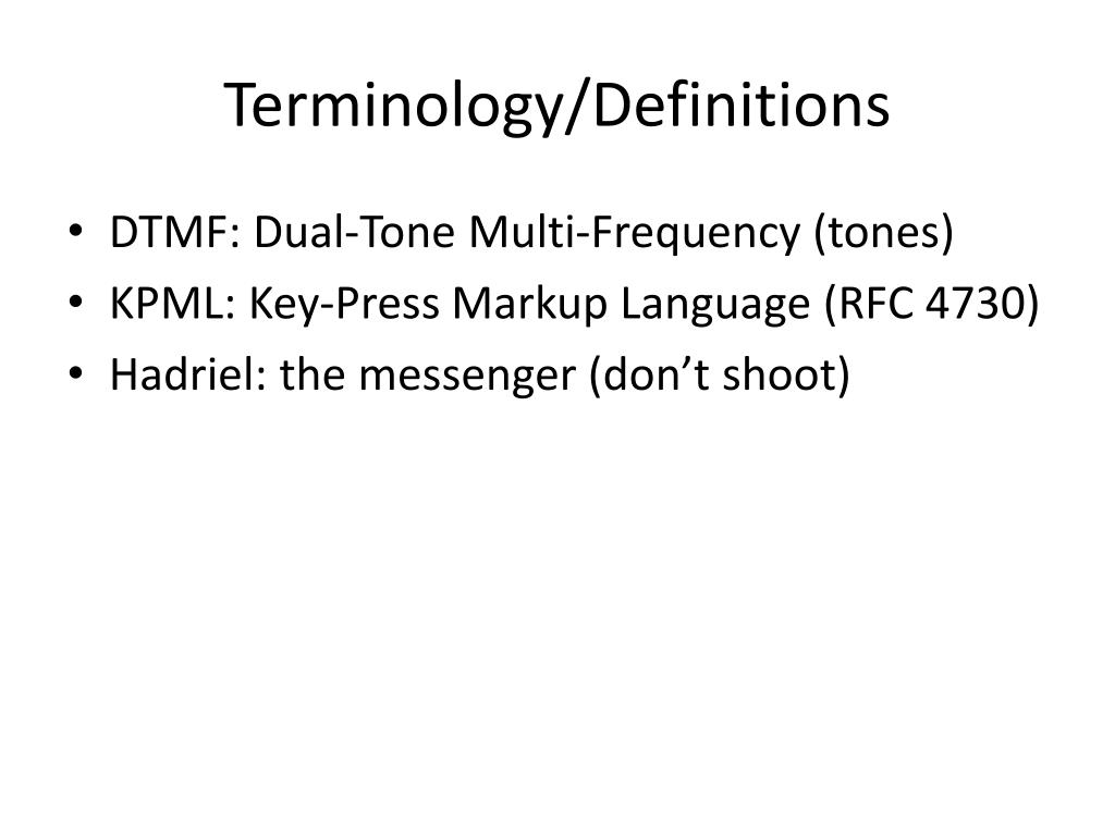 Terminology/Definitions