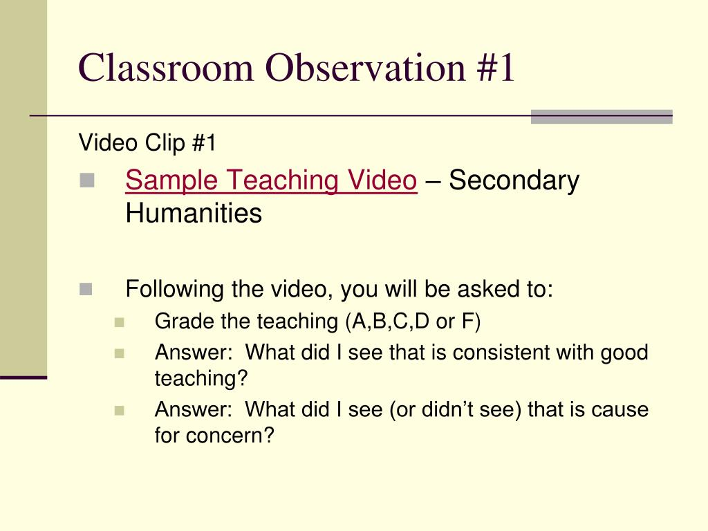 Classroom Observation #1