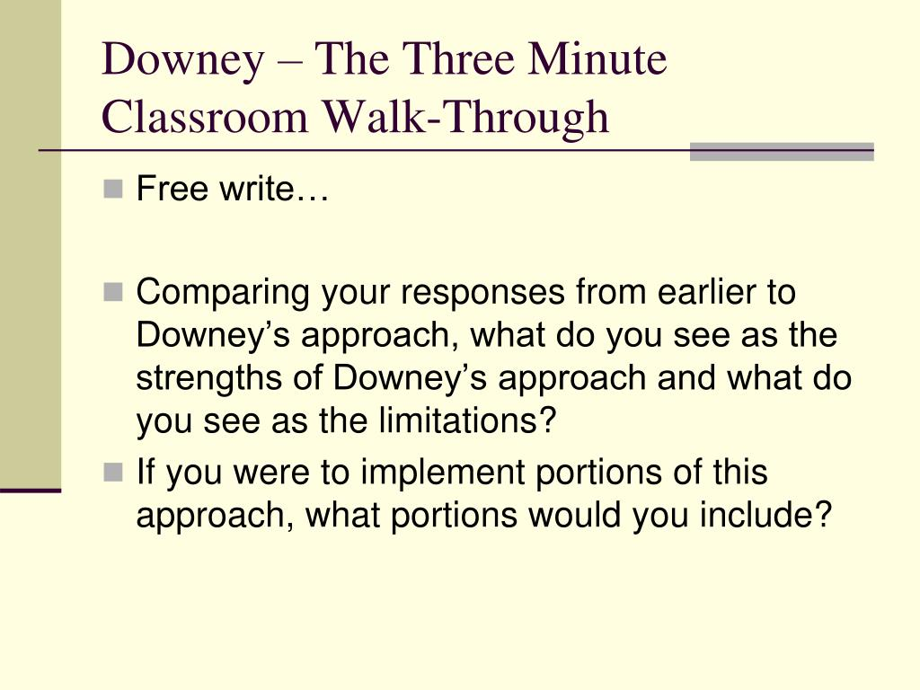 Downey – The Three Minute Classroom Walk-Through